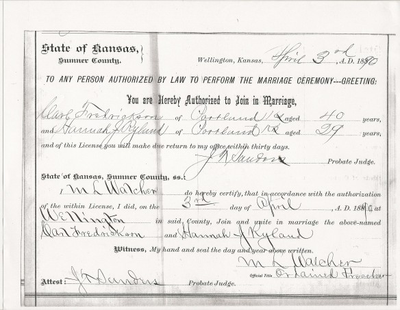Hannah Carl 1890 Marriage Lic