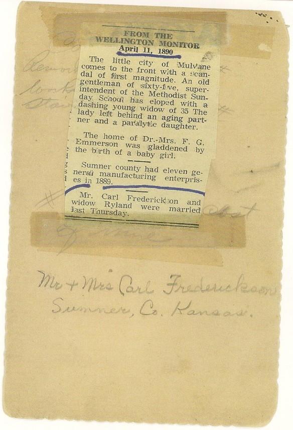 Hannah Carl 1890 Wedding Announcement